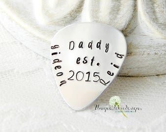 Guitar Pick, Personalized Pick, Custom Pick, Gift for Men, Gift For Dad, Customized Plectrum, New Dad Gift, Hand Stamped Pick, Father's Day