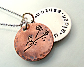 Hand Stamped Copper and Sterling Silver Mommy Necklace
