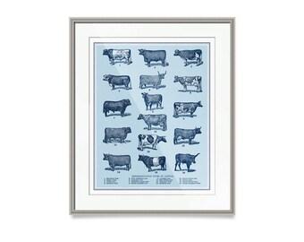 "Farmhouse Nursery, Modern Farmhouse Decor, Cattle Art Print, 30"" x 24"" Cow Decor, Kitchen Decor, Cattle Decor, Farm Decor"