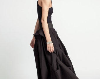 Black Maxi Skirt / Long Skirt / Stylish Skirt / Unique Skirt / Designer Skirt / Loose Skirt / Black Dress / Marcellamoda - MP0310