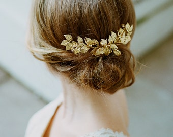 "Gold bridal comb- Gold leaf comb- Bridal headpiece- Gold leaf headpiece- Pearl comb- Pearl headpiece- TWRA ""ROSE"" Hair comb"