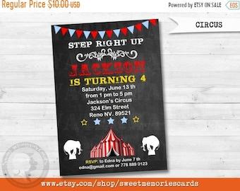 ON SALE Circus invitation, Circus Birthday Invitation, Carnival Invitation, Carnival Birthday Invitation
