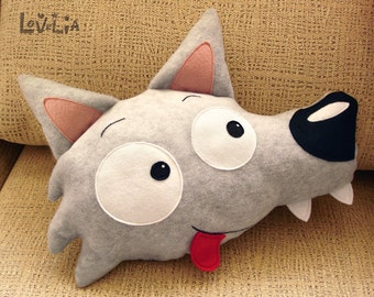 Wildo peluche loup - coussin en peluche décorative-