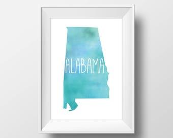 Alabama State Teal Watercolor Printable Art, Alabama Print, Alabama Art, Modern Art,
