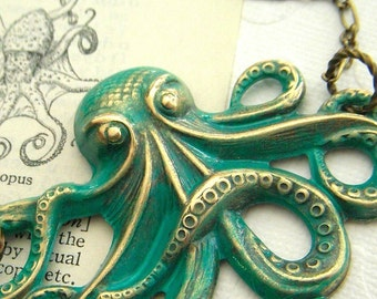 Big Octopus Necklace Rustic Turquoise Green Color Primitive Antiqued Finish Brass Metal