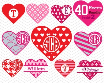 40 Hearts Pack#2 Monogram Valentine Frames split decal DXF SVG Cricut Design, Silhouette studio, Sure Cut Lot, Make, Love Valentine Download