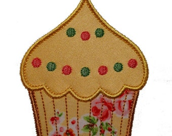 """Frosted Cupcake Applique Machine Embroidery Design Pattern in 4 sizes 3"""", 4"""", 5"""" and 6"""""""