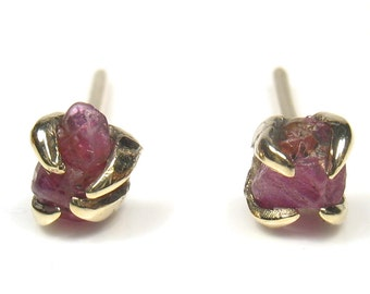 Uncut rough Ruby, Aquamarine,,Yellow Sapphire, Peridot, Cubic  Zirconia earrings,gold stud style,organic shape.