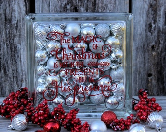 The Magic of Christmas is not in the Presents but in His Presence Decorative Glass Block