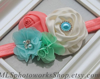The April Showers Hair Bow - Soft and Sweet Spring Baby Girl Headband with Coral Pink, Aqua Blue and Mint Green - Baby Headbands for Easter