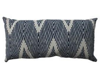 Indigo navy and white geometric ikat lumbar pillow cover