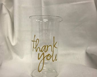 """Glass Beaker with """"thank you"""" in gold"""