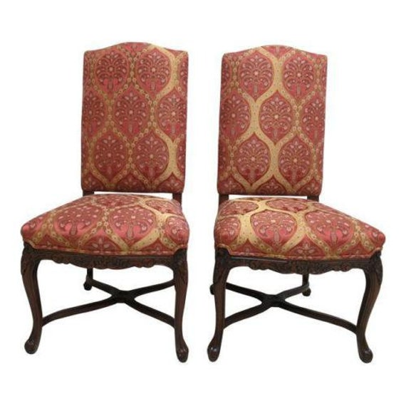 2 Country French Fremarc Designs Dining Room End Of The Table Chairs Walnut