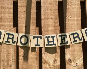 Personalized Banner - Brothers - Chipboard Cardstock - Black