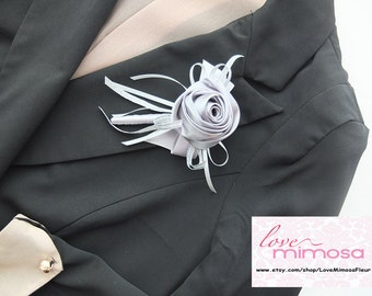 Men's Boutonniere, Silver Gery Satin Rose Boutonniere