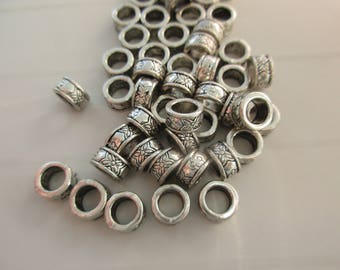 5 silver plated round spacer beads