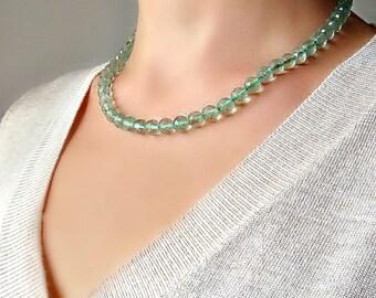 Green Fluorite Necklace. Fluorite jewelry. Fluorite Necklace.  Natural Stone Necklace. Beaded Fluorite necklace.