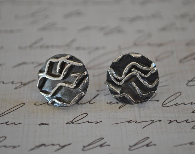 Sterling silver post earrings, textured metal earrings, artisan earrings, round, post