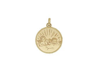Yellow Gold twin Angels Medal