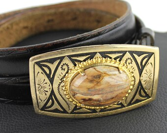 Brown Stone & Gold Buckle on Black Leather Belt - US Size 34