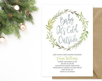 Winter Baby Shower Invitation, Baby Its Cold Outside Invitation, Mint Green Wreath Baby Shower Invitation, Mint Silver Baby Shower Invite