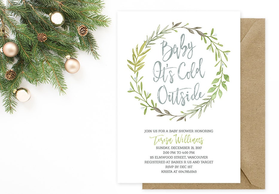 Winter Baby Shower Invitation Baby Its Cold Outside