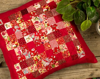 Red patchwork pillow cover. Japanese quilt style. Square rug case quilted cushion. Patchwork handmade sewn home gift