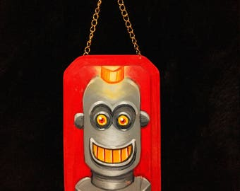 happy robot art original acrylic painting on wood plaque