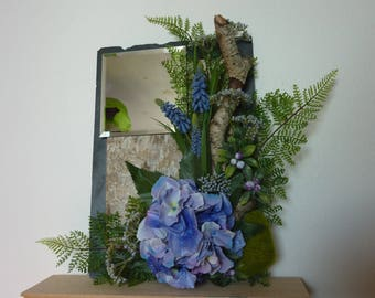 Blue wood tones theme decorated mirror
