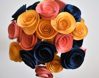 Navy Blue, Coral, and Gold Paper Flower Bouquet, Paper Flowers with Stems, Alternative Wedding Bouquet