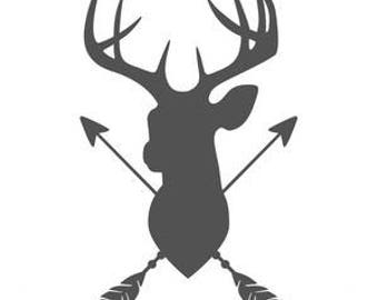 Deer Head with Arrows Decal, Car Decal, Truck Decal, Tumbler Decal, YETI, RTIC, Colster Decal, Decal Gifts