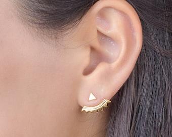Silver Triangle Ear Jacket, Sterling Silver, Spikes Earjacket, Geometric Earring, Stud Earrings, Modern Jewelry,  Handmade, Lunai, EJK001