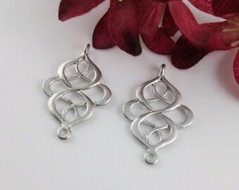 4 Pcs - Matte Rhodium Plated Filigree Chandelier Pendants, Connector, Earrings, Charm, Pendant (28x18MM) JH0R3