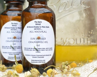 Sun Infused Chamomile Sweet Almond and Grapeseed Oils 1oz...For Natural Skin Care, Sleep Induction and Ease of Mind