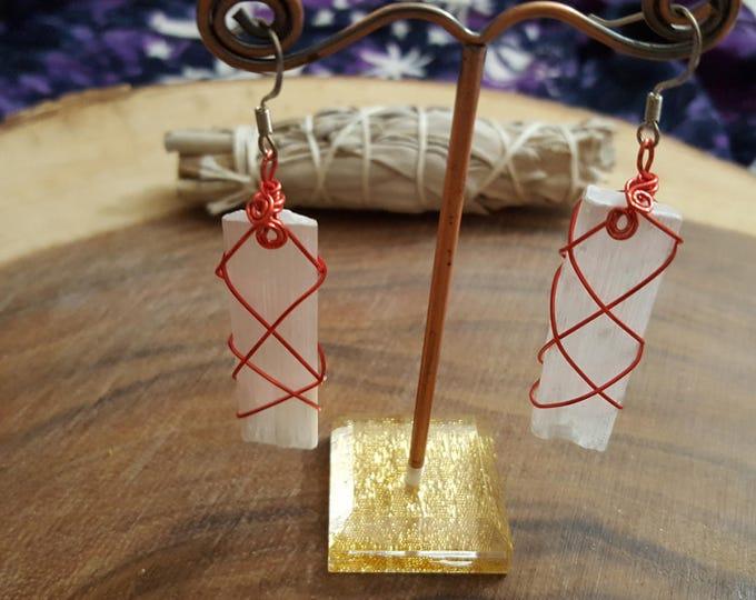 Selenite wire wrapped earrings ~ 1 pair Reiki infused earrings (SE02)