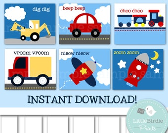 Nursery Wall Art TRANSPORTATION Kids Room, Airplane, Car, Truck, Train, Bulldozer and Rocket. Set of 6. Instant Download