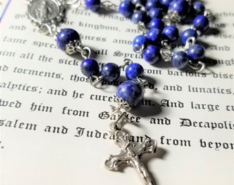 Miraculous Rosary, Our Lady of Graces Rosary, Miraculous Medal, Lapis Lazuli Rosary, Handmade Rosary, Blue Rosary, Stone Rosary