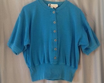 1980s teal short sleeve sweatshirt, size medium, SK & COMPANY brand