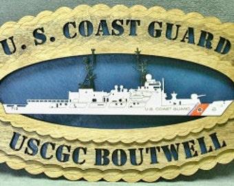 """Custom 8x12"""" Wood US Coast Guard USS Boutwell Wall Tribute"""