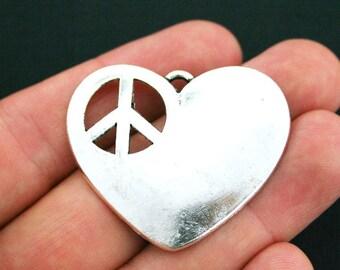 2 Peace Heart Charms Antique Silver Tone Cutout - SC2019
