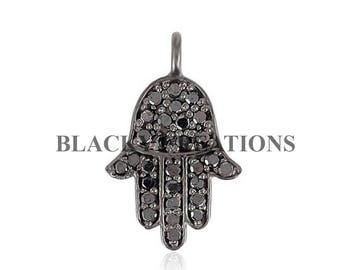 Handmade 925 Sterling Silver 0.3 ct Pave Diamond Hamsa Charm Pendant Jewelry