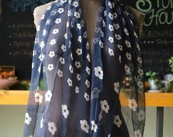 Vintage Sheer Dark Blue Silk Shawl - modern patterned shawl - ecru daisy flowers