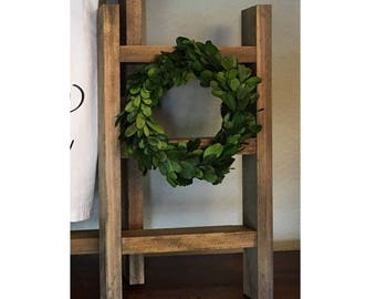 "Mini ladder with 6"" boxwood wreath"