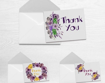 Summer - Thank You Note Card Set of 3 with Matching Envelopes (5.5 x 4.25)