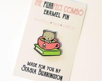 PURRfect Combo enamel pin - Tea, Book, Cat