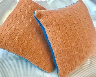 Orange sherbert/bright blue colorblock cashmere pillow!!!