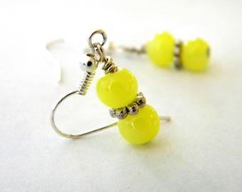Yellow Glass Earrings Dangle Earrings