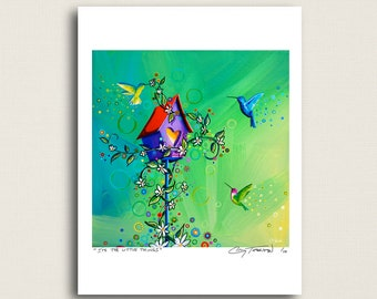 It's The Little Things - whimsical humming birds - Limited Edition Signed 8x10 Semi Gloss Print (8/10)