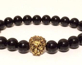 Energy Bracelet, Black Onyx Bracelet, Lion Bracelet, Power bracelet, Wrist Mala, Yoga Bracelet, Chakra Bracelet, Men Bracelet, Men Jewelry