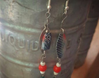 red, white and blue fishing lure dangle earrings